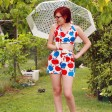 Retro Apple-Printed Play Suit